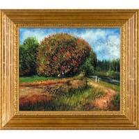 Pierre Auguste Renoir 'Bluhender Kastanienbaum' Hand-painted Framed Canvas Art