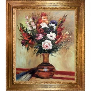 Pierre Auguste Renoir 'Rose in a Vase' Hand-painted Framed Canvas Art