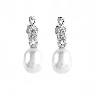 Kabella Jewelry Sterling Silver Lace Heart Freshwater Pearl Cubic Zirconia Drop Earrings (7-8 mm)