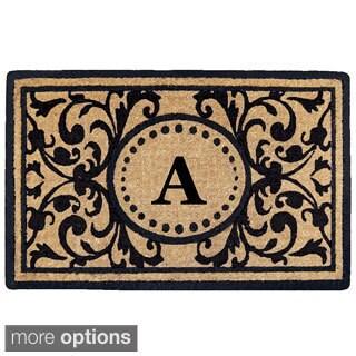 Handmade Monogrammed Heritage Natural/ Black 18 x 30-inch Coir Door Mat