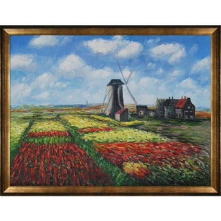 Claude Monet 'Tulip Field' Hand-painted Framed Canvas Art