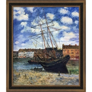 Claude Monet 'Boat at Low Tide, FeCamp 1881' Hand-painted Framed Canvas Art