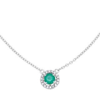 14k White Gold 1/10ct TDW Diamond Emerald Halo Necklace (H-I, I1-I2)