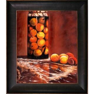 Claude Monet 'Jar of Peaches' Hand-painted Framed Canvas Art