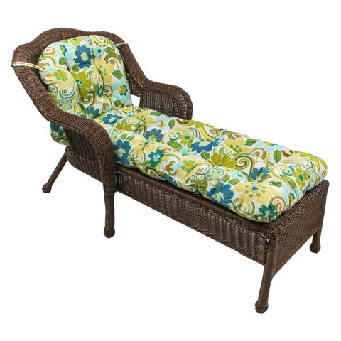 "Blazing Needles 69x21-inch U-shaped Outdoor Tufted Chaise Lounge Cushion - 69"" x 21"""