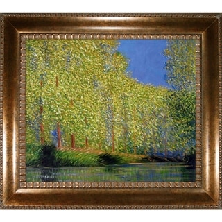 Claude Monet 'Bend in the Epte River' Hand-painted Framed Canvas Art