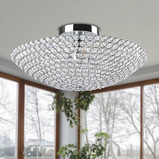 The Lighting Store Leila 3-light Chrome Bowl-shaped Crystal Flush Mount
