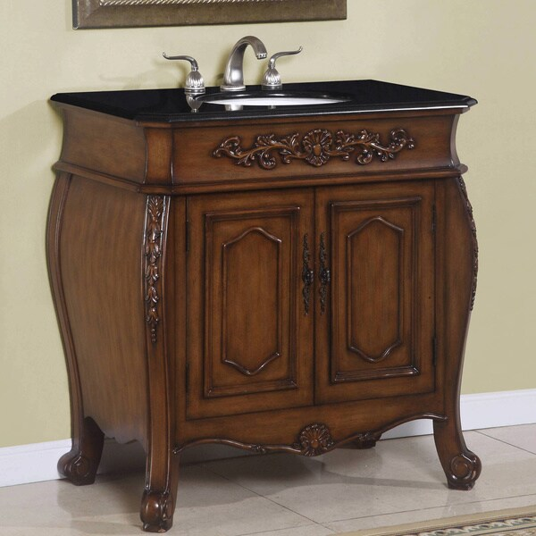 ica furniture theia 36 inch brown walnut single sink bathroom vanity