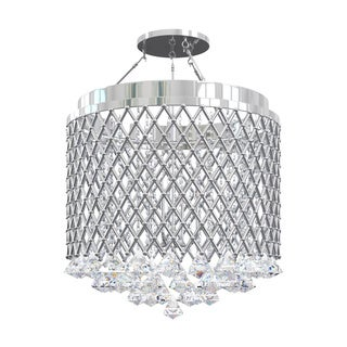 Nerisa 4-light Chrome Semi-flush Mount Crystal Chandelier