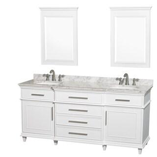 Wyndham Collection Berkeley 72 Inch White Double Bathroom Vanity