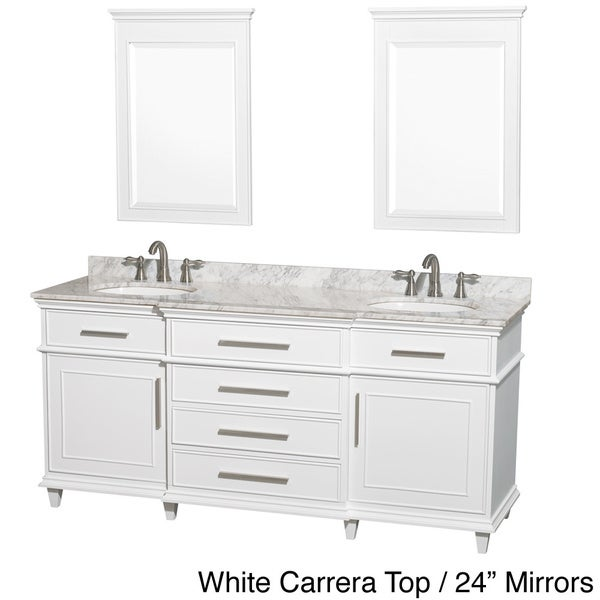Wyndham Collection Berkeley 72 Inch White Double Bathroom Vanity
