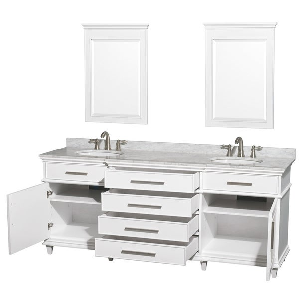 Wyndham Collection Berkeley White 80 Inch Double Bathroom Vanity   Free  Shipping Today   Overstock.com   15998640