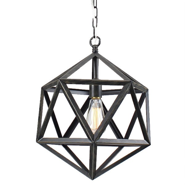 Multangular Iron 1-light Antique Bronze Chandelier - Free Shipping Today - Overstock.com - 15998642
