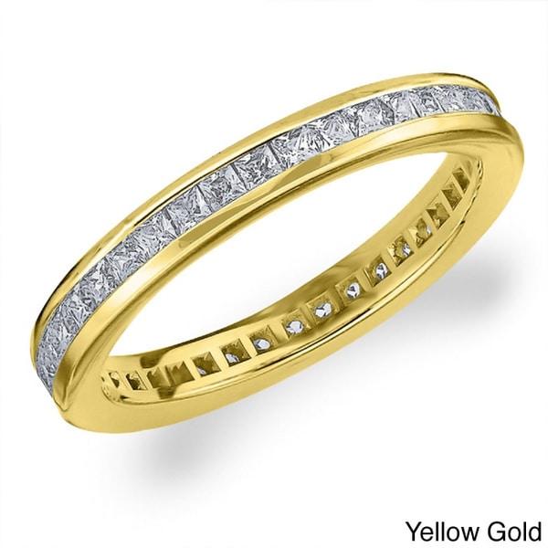Amore 14k Gold 1ct TDW Machine-set Princess Eternity Diamond Wedding Band (H-I, SI1-SI2)