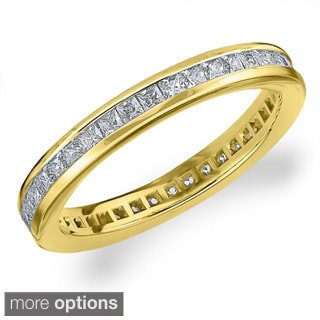 Amore 14k Gold 1ct TDW Machine-set Princess Eternity Diamond Wedding Band
