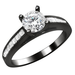 Noori 14k Black Gold 1ct Round Princess Cut Diamond Engagement Ring (G-H, SI1-SI2)