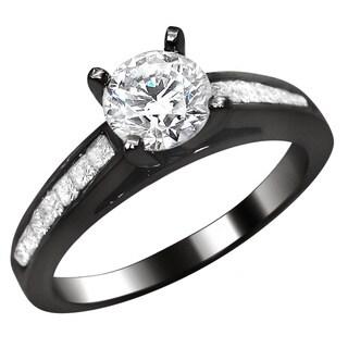 Noori 14k Black Gold 1ct Round Princess Cut Diamond Engagement Ring