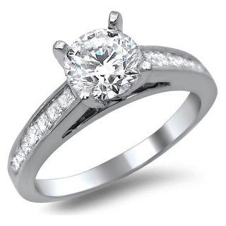 Noori 14k White Gold 1 1/4ct Certified Round Princess Cut Diamond Engagement Ring (G-H, SI1-SI2)