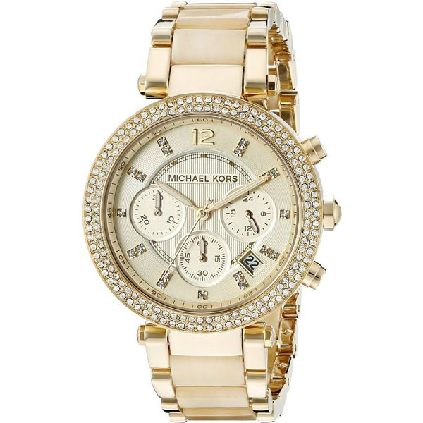 1338ea6ef14f Shop Michael Kors Women s MK5632  Parker  Chronograph Goldtone Watch ...