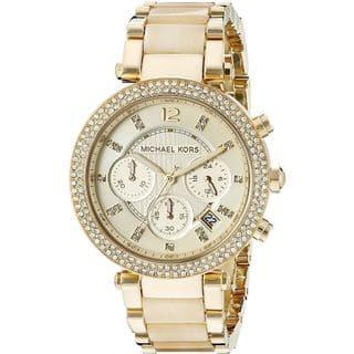 Michael Kors Women's MK5632 'Parker' Chronograph Goldtone Watch https://ak1.ostkcdn.com/images/products/8755026/P15998660.jpg?impolicy=medium