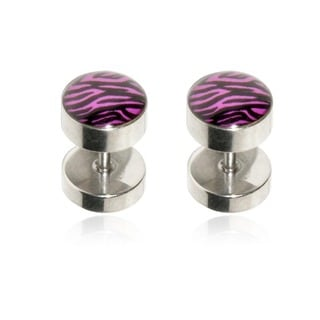 Supreme Jewelry Purple Zebra Striped Fake Plug Earring (Pair)