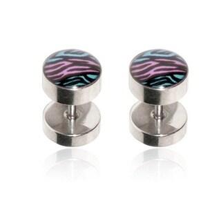Supreme Jewelry Two-Tone Zebra Striped Fake Plug Earrings (Pair of 2)