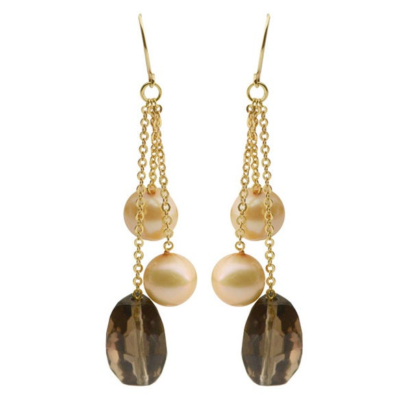 Pearls For You 14k Yellow Gold Dyed Champagne Freshwater Pearl and Smokey Quartz Dangle Earrings (7-7.5 mm)