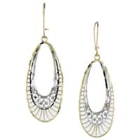 14k Two-tone Gold Diamond-cut Oval Drop Earrings