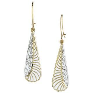 14k Two-tone Gold Diamond-cut Elongated Drop Earrings