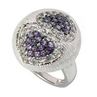 Sterling Silver White Topaz and Amethyst Heart Texture Ring