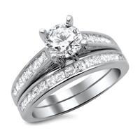Noori 14k White Gold 1 1/2ct Round Princess Cut Diamond Engagement Ring Set
