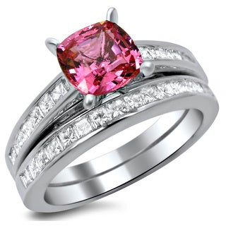 Noori 14k White Gold 2 ct TDW Certified Cushion-cut Diamond Pink Sapphire Bridal Set (G-H, SI1-SI2)