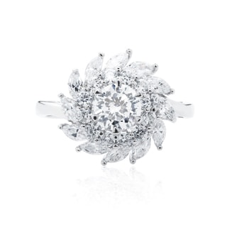 Blue Box Jewels Rhodium-plated 925 Sterling Silver Premium EQ Star CZ Whirlwind Statement Ring
