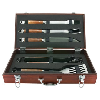 Mr. Bar.B.Q 5 Piece Tool Set with Genuine Hardwood Case