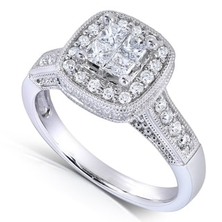 Annello by Kobelli 14k White Gold 5/8ct TDW Princess Quad Halo Diamond Miligrain Engagement Ring
