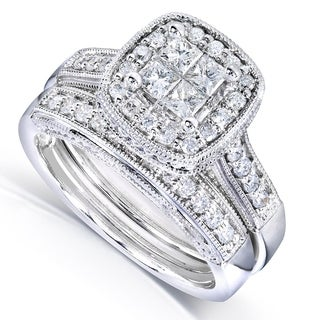 Annello By Kobelli 14k White Gold 3 4ct TDW Princess Quad Diamond 2 Ring Miligrain Bridal Set