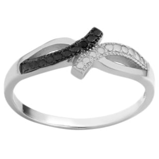 Fremada Sterling Silver with Black Diamond Accent Ring (size 7)