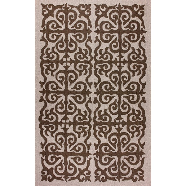 nuLOOM Hand-hooked Damask Wool Brown Rug (5' x 8')