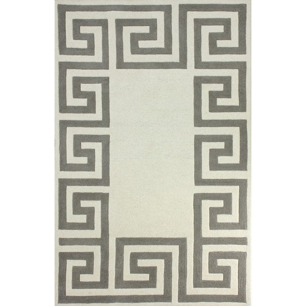 Shop Nuloom Hand Tufted Greek Key Border Ivory Wool Rug