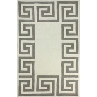 Nuloom Handmade Flatweave Greek Key Grey Wool Rug 7 6 X 9