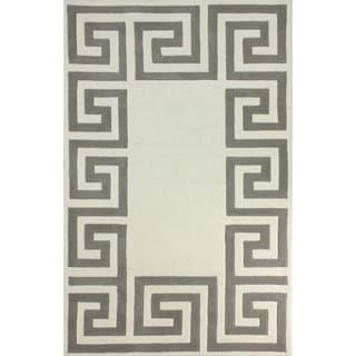 nuLOOM Hand-tufted Greek Key Border Ivory Wool Rug (8'6 x 11'6)