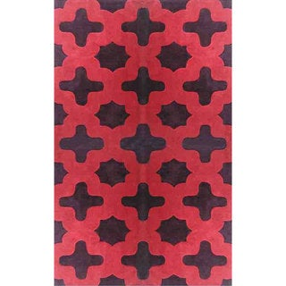 nuLOOM Hand-tufted Moroccan Trellis Red Rug (7'6 x 9'6)