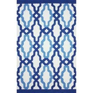 nuLOOM Hand-hooked Indoor/ Outdoor Trellis Blue Rug (8'6 x 11'6)