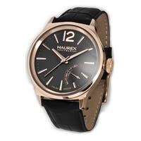 Haurex Italy Men's Grand Class Black Leather Day Retrograde Watch