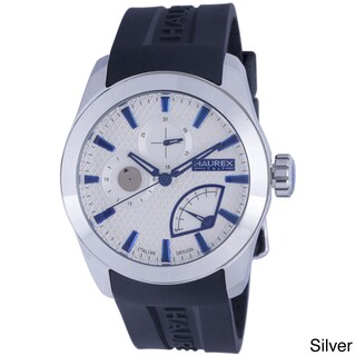 Haurex Italy Men's Magister Black Silicone Day Date Watch (Option: Silver)