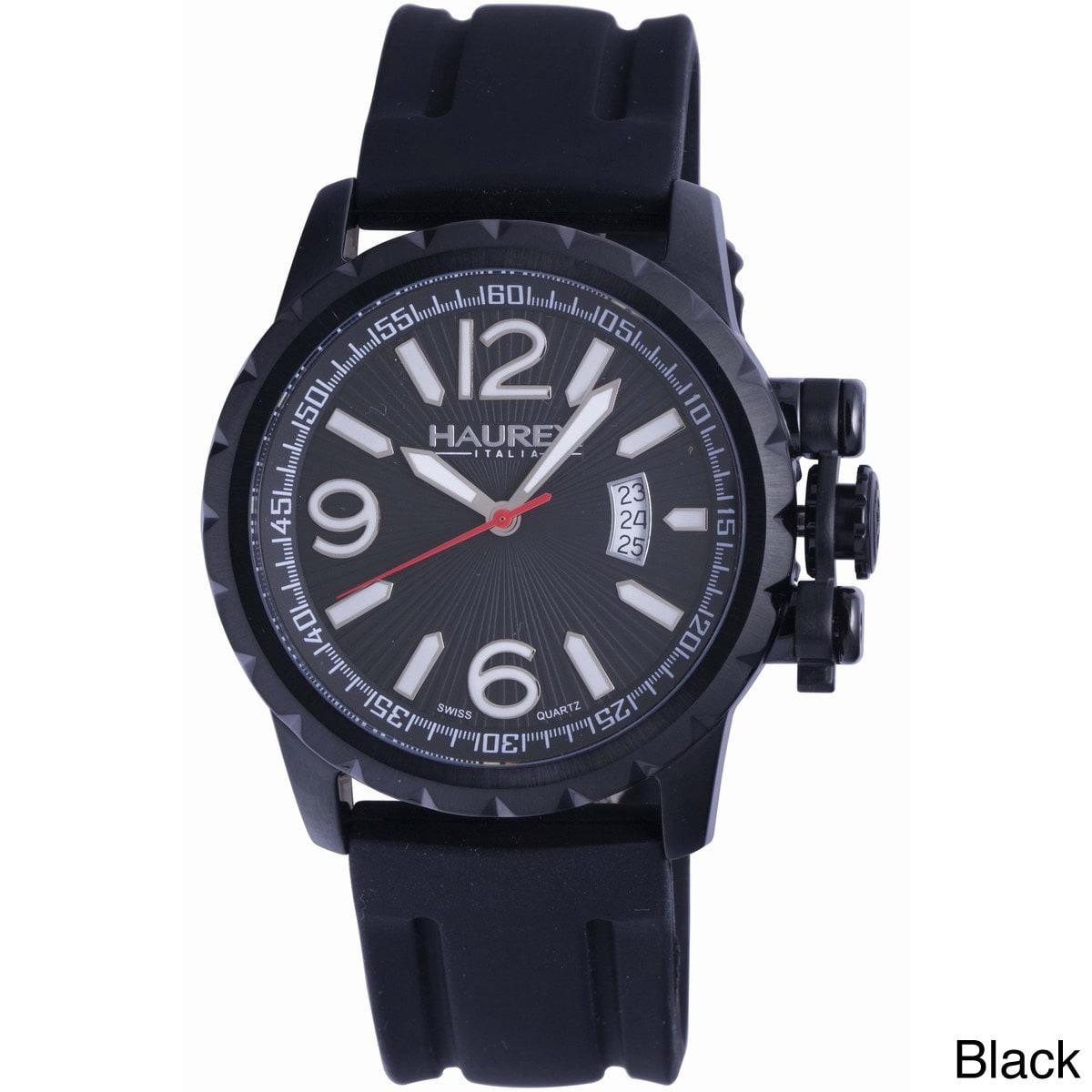 Haurex Italy Men's Aeron Black Rubber Date Watch (Black),...