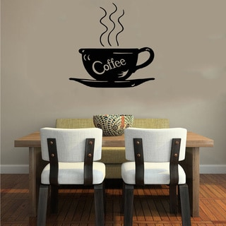 Black Coffee Cup Smoke Word Wall Vinyl Decal