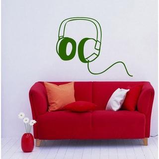 Headphones Musical Green Vinyl Wall Decal