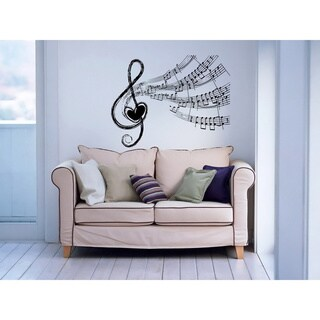 Notes Waves Musical Treble Clef Heart Wall Vinyl Decal