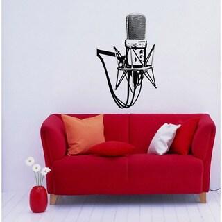 Studio Microphone Musical Black Vinyl Wall Decal